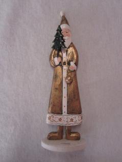 Weihnachtsmann aus Holz Deko 27 cm hoch mit Tannenbäumchen und Glöckchen