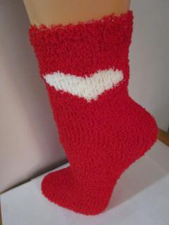 Socken Kuschelsocken für Damen Einheitsgröße (36-43) rot-weiß mit Herz - Vorschau 1