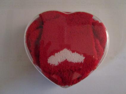 Socken Kuschelsocken für Damen Einheitsgröße (36-43) rot-weiß mit Herz - Vorschau 3