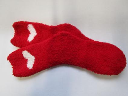 Socken Kuschelsocken für Damen Einheitsgröße (36-43) rot-weiß mit Herz - Vorschau 2