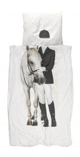 """Bettwäsche """"Amazone"""" 135x200 cm Reiterin mit Pferd von Snurk Garnitur"""