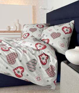 Feinbiber Bettwäsche 135x200 Dessin Davos 6485/01 rot-silber von Janine 100% naturreine Baumwolle Garnitur Feinbiber - Die Bettwäsche mit dem Goldknopf