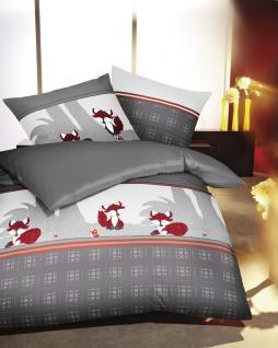 Biber Bettwäsche 135x200 + 80x80 cm Kleine Nachtmusik Kleiner Fuchs 383/569 grau von Kaeppel