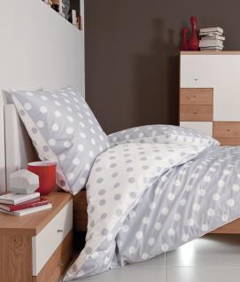 Bettwäsche 135x200 cm Punkte Mako-Satin J.D.by Janine Dessin 8472/08 silber 100% naturreine Baumwolle - Die Bettwäsche mit dem Goldknopf - Vorschau 1