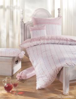 Edel-Flanell Bettwäsche 135x200 CHINCHILLA-S 7505 01 rosé von Janine 100% naturreine Baumwolle Garnitur Feinbiber - Die Bettwäsche mit dem Goldknopf