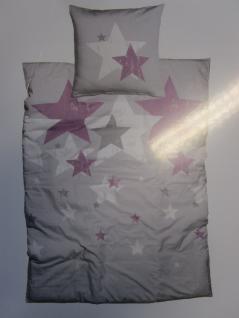 Bettwäsche 135x200 cm Mako-Satin 100% Baumwolle Garnitur Living Dreams Sterne silber-beere - Vorschau 1
