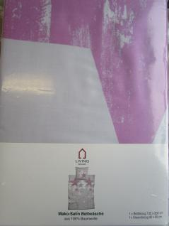 Bettwäsche 135x200 cm Mako-Satin 100% Baumwolle Garnitur Living Dreams Sterne silber-beere - Vorschau 3