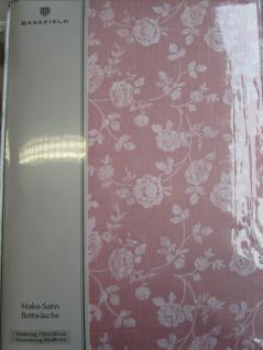 Bettwäsche 155x220 cm Mako-Satin 100% Baumwolle Garnitur Basefield Roses Farbe rose - Vorschau 2