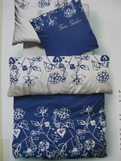Bettwäsche 135 x200 + 80x80 cm von TomTailor Blau-Weiß