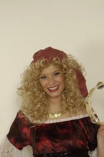Tuch rot mit blonden Locken Perücke Pirat Piratenperücke Piratin