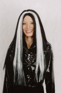 Langhaar Perücke schwarz mit weißen Strähnen Hexe