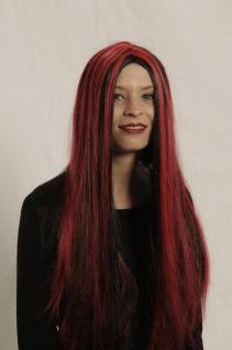 Langhaar Perücke schwarz mit roten Strähnen