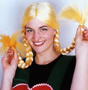 Perücke Bärbelchen blond lange Zöpfe