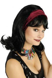 Perücke Rihanna schwarz Perücke mit Haarband