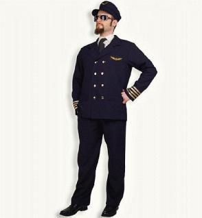 Kostüm Pilot 2-teilig mit Mütze für Erwachsene Pilotenkostüm