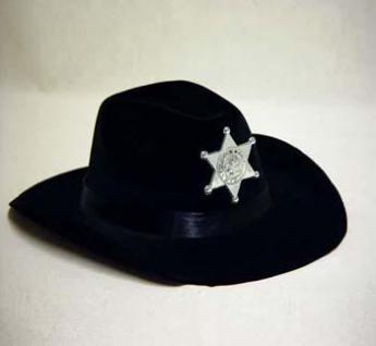 Cowboyhut schwarz mit Sheriffstern Karneval - Vorschau