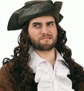 SONDERPREIS Piratenhut sehr edel mit Haaren Hut Pirat Piraten Dreispitz Seeräuber Kapitän - Vorschau