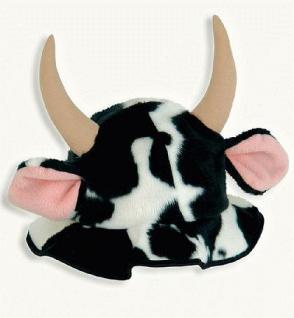 Hut Kuh mit Hörner schwarz - weiß Kuhhut Kuhkostüm Kostüm Kuh