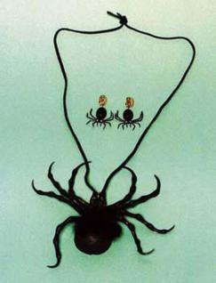 Spinnen - Garnitur Kette Spinne Ohrringe Spinne Spinnenkostüm Halloween