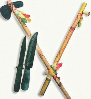 Indianer - Set Tomahawk Messer Friedenspfeife Kostüm Indianer