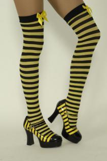 Ringelstrümpfe Overknees schwarz-gelb Biene Bienen Bienenkostüm Kostüm Biene - Vorschau