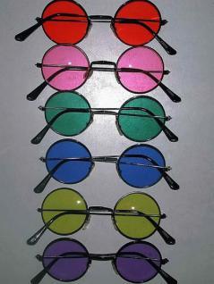 Lennon - Brille mit bunten Gläsern Hippiebrille Hippie Flower Power Hippie Brille - Vorschau