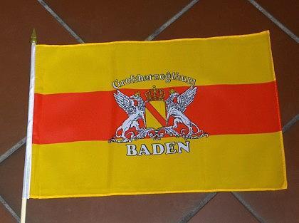 Fahne Baden mit Wappen und Stock