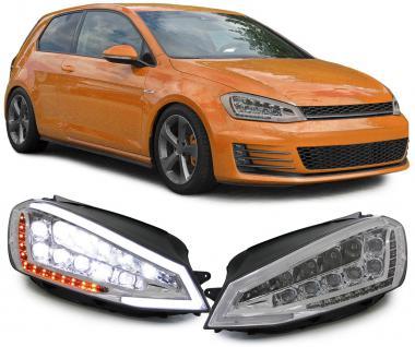 VOLL LED SCHEINWERFER MIT MOTOR UND TAGFAHRLICHT LIGHTBAR CHROM VW Golf 7 ab 12