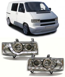 VW Bus Transporter T4 90-03 SCHEINWERFER MIT LED TAGFAHRLICHT OPTIK CHROM