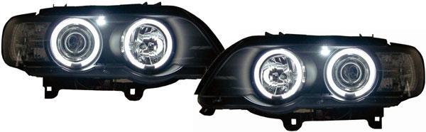 BMW X5 98-02 KLARGLAS CCFL ANGEL EYES SCHEINWERFER H1 H1 SCHWARZ