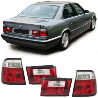 BMW 5er E34 Limousine 88-95 RÜCKLEUCHTEN KLARGLAS KRISTALL ROT KLAR