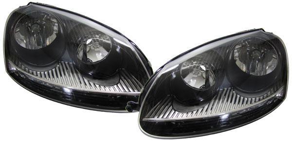 SCHWARZE GTI SCHEINWERFER SET für Golf 5 + Jetta 3