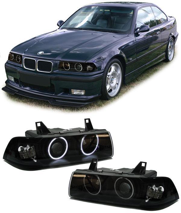 bmw e36 coupe cabrio ccfl angel eyes scheinwerfer schwarz kaufen bei carparts online gmbh. Black Bedroom Furniture Sets. Home Design Ideas