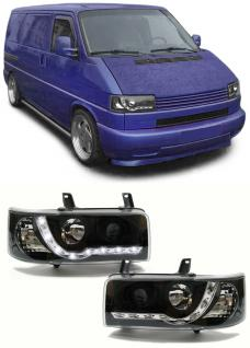 KLARGLAS SCHEINWERFER + LED TAGFAHRLICHT OPTIK SCHWARZ FÜR VW Bus T4 90-03