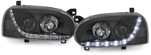 KLARGLAS SCHEINWERFER H1 H1 LED TAGFAHRLICHT OPTIK SCHWARZ für VW Golf 3 91-97