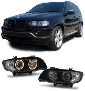 BMW X5 99-03 XENON SCHEINWERFER D2S H7 ANGEL EYES SCHWARZ