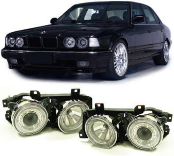 BMW E34 + E32 KLARGLAS ANGEL EYES SCHEINWERFER CHROM
