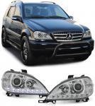 KLARGLAS SCHEINWERFER DRL TAGFAHRLICHT OPTIK CHROM FÜR Mercedes ML W163 98-01