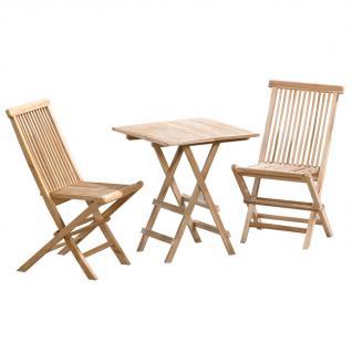 3tlg. Sitzgruppe Sevilla aus Teakholz, Tisch 40 x 60 cm