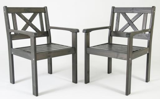 2er Set Massivholz Sessel Gartenstuhl Stuhl EVJE Taupegrau