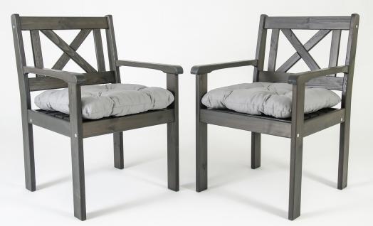 2er Set Massivholz Sessel Gartenstuhl Stuhl EVJE Taupegrau inkl. Kissen