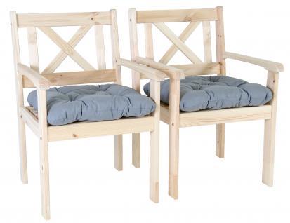 2er Set Massivholz Sessel Gartenstuhl Stuhl EVJE Natur inkl. Kissen