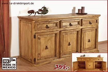 extrabreites mexico hacienda sideboard aus pinie kaufen bei 1a direktimport. Black Bedroom Furniture Sets. Home Design Ideas