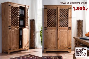 mexico schrank kleiderschrank aktenschrank pinie kaufen bei 1a direktimport. Black Bedroom Furniture Sets. Home Design Ideas