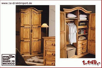 mexico kleiderschrank schrank pinie massiv kaufen bei 1a direktimport. Black Bedroom Furniture Sets. Home Design Ideas