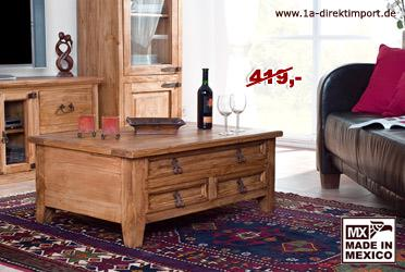 massiver mexico couchtisch aus mexiko pinie kaufen bei 1a direktimport. Black Bedroom Furniture Sets. Home Design Ideas