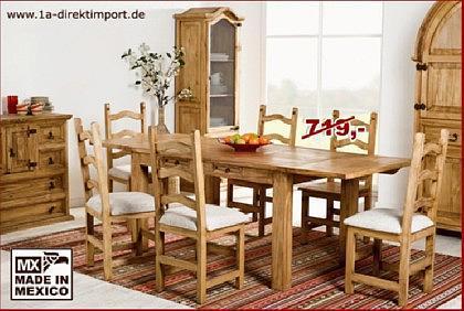 MEXICO Esstisch/Tisch mit 2x Verlängerung, Pinie