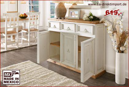 mexico sideboard sidebord kommode pinie massiv shabby m bel wei honig kaufen bei 1a. Black Bedroom Furniture Sets. Home Design Ideas