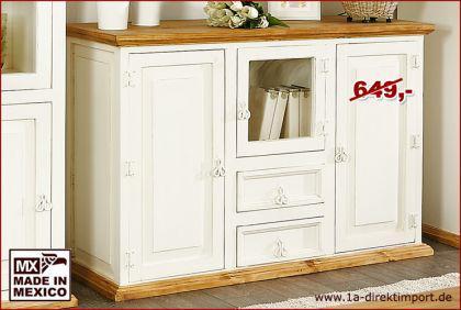 Sideboard Schrank Kommode MEXICO WEISS + HONIG, weiße Pinie massiv Möbel, neu - Vorschau 2