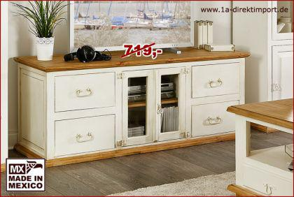 tv tisch lowboard kommode tv schrank mexico weiss pinie. Black Bedroom Furniture Sets. Home Design Ideas